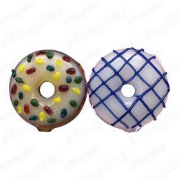 Wholesale Mini Blow - Manufacturer wholesale Circle Donut glass tobbaco pipe Hand blown small bong bubbler shape bubbler Mini Spoon
