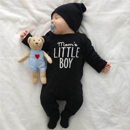 2019 monos negros de una pieza Mamá Little Boy estampado mameluco recién nacido negro manga larga mono bebé traje de una sola pieza traje de cuerpo trajes ropa monos negros de una pieza baratos
