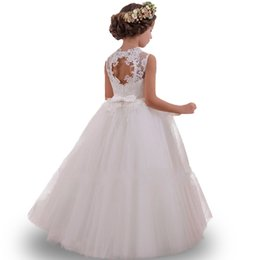 Wholesale Infants First Communion Dresses - 2017 Tulle Lace Infant Toddler Pageant White Flower Girl Dresses for Weddings and Party First Communion Dresses For Girls