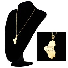 Wholesale Map Middle - Hot selling gold Iraq map hip-hop pendant COPPER NECKLACE jewelry wholesale