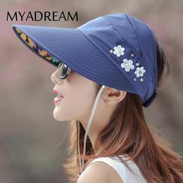Wholesale Girls Clearance - Clearance MYADREAM Portable Empty Top Hat Wide Brim Summer Hats for Women Pearl Flower Chapeau Femme Ladies Girls Beach Hat