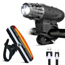 Wholesale Rechargeable Drop Light - USB Rechargeable Waterproof Bike Light Set LED Super Bright Bicycle Headlight + 5 LED Safety Tail Rear Light Drop Shipping