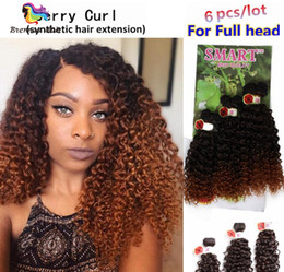 Wholesale Orange Hair Extensions - Free shipping Smart easy install synthetic weft hair ombre color Jerry curl crochet hair extensions crochet braids hair weaves marley twist