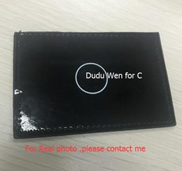 Wholesale Card Stock Types - 2pcs  lot Luxury printed card holder bag 3 card holder classic pattern black PU coat bag for card Make up counter gift