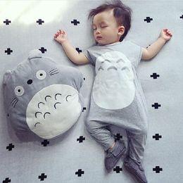 linda niña rosas Rebajas Bebé Verano Mameluco Sombrero de Dibujos Animados Totoro Forma Ropa para Niños Bebé Niño Niña Mono Leotard Harlan Modelos