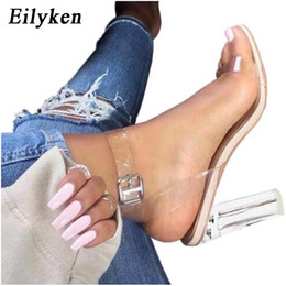 Wholesale Embossed Dresses - Eilyken Women Sandals Ankle Strap Perspex High Heels PVC Clear Crystal Concise Classic Buckle Strap High Quality Shoes size35-41