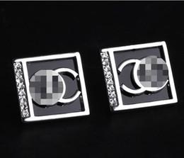 Wholesale Black Crystal Clip Earrings - Brand Designer Letters Ear Stud Clip Black Enamel Ear Ear Drop Geometry Square Earrings Women Wedding Party Jewelry Accessory