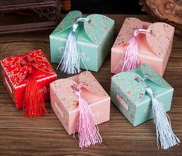 2019 коробка конфет ювелирных изделий для венчания Свадебный куб конфеты коробка подарок чехол с кистями ленты венчания партии подарочные коробки ювелирных изделий дешево коробка конфет ювелирных изделий для венчания