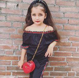 Argentina Niños pequeños para bebés, niñas y bebés, fuera del hombro, blusa, blusa, pantalones largos, trajes Ropa de manga corta 1-6T Ropa para niñas Suministro