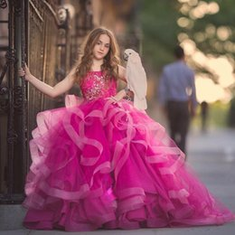 Wholesale Girls Tull Dresses - Fluffy Fuchsia Flower Girls Dresses Spaghtti Straps Lace Applique Tull Ball Gown Girls Pageant Dress 2018 Gorgeous Princess Birthday Dresses