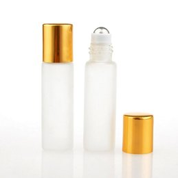 Wholesale Glass Essential Oil Containers - 5 ML Frosted Glass Roll On Perfume Bottle Essential Oils Cosmetic Containers With Steel Beads For Travel LX1203