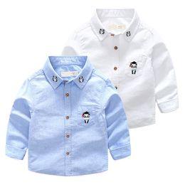 2018 New Enfant Boys stripe Camicie in cotone per bambini vestiti manica lunga cartone animato Carino panda ricamo Cars Camicette per bambini ragazzo camicia da