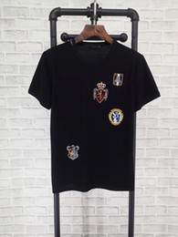 Wholesale Men Silk Short Sleeve Shirt - European and American dujia in spring and summer popular logo new crown knight medal embroidered silk cotton round neck sleeve T-shirt