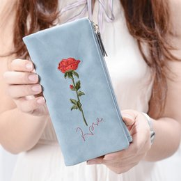 white flower purse Coupons - Embroidery Rose Long Wallet Female Soft Hasp Cloth Vintage White Rose Flower Purse for Lady With Card Holder Carteira Feminina
