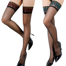 c76528ada red nylon thigh highs Promo Codes - Women Sexy Over Knee Thigh High Peacock  Lace Top