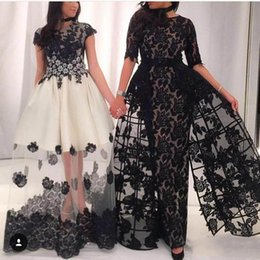 Wholesale Slim Line Evening Dress - 2018 Newest Black and White Arabic Prom Dresses Sexy Short Sleeve Party Dresses Slim Floor-Length Evening Dresses