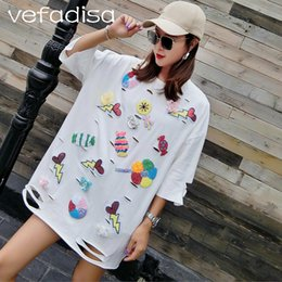 0c45181e0ad3b QING MO Plus Size T Shirt 2018 Women Summer Tops Plus Size White Shirt with  Sequin Short Sleeve Appliques Hole T ADQ303
