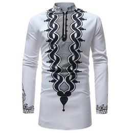SHUJIN Africain Dashiki Col montant Imprimé Traditionnel Shirt à manches longues Chemise à manches longues pour hommes Nouvelle Arrivée Afrique Vêtements ? partir de fabricateur