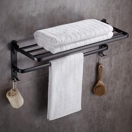 Argentina Estante de aluminio montado en la pared del cuarto de baño del espacio del estante de toalla con los ganchos cheap aluminum bathroom hook Suministro