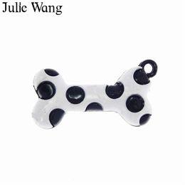 металлические кости собак Скидка Julie Wang 10PCS Alloy Black White Enamel Dog Bones Charms Necklace Pendant Earrings Findings DIY Metal Accessory Jewelry Making