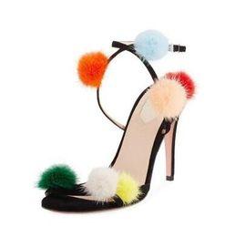 Casamento elegante fivelas on-line-2018 Colorido Bola Design Fivela Cinta Elegante Mulheres Sandálias Fina De Salto Alto Sapatos de Festa de Casamento Sexy Gladiador Chaussures Feminino