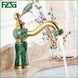 Wholesale Unique Bathrooms - Unique Design Basin Faucet Deck Mounted Golden Classic Bathroom Faucet Jade Painting Long Spout Bathroom Sink FLG100026
