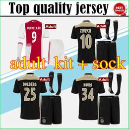Wholesale fc uniforms - Top quality 2018 2019 Ajax FC Away Soccer Jerseys uniforms 18 19 DOLBERG ZIYECH HUNTELAAR YOUNES MEN Ajax Football Shirt kit with socks
