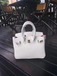 Pelle foderata online-25 cm 30 cm 35 cm marca Totes colore bianco con fodera rosa in vera pelle borse a tracolla signora borsa di alta qualità spedizione gratuita