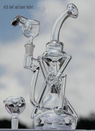 Wholesale Function High - BONG! Glass bong Recycler water pipe High quality Oil Rigs Hybrid Two function Hand make glass art built in claim catchers