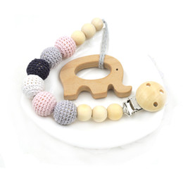 Wholesale Crochet Holder - Neutral color baby Pacifier Clip Holder with beech Elephant Shaped Pendant Dummy holder Crochet beads new-born gift NT132