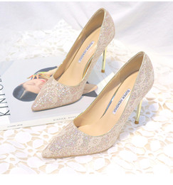 Wholesale Lace Bridal Heels - Shining Lace Wedding Shoes For Bride Sequined Stiletto Heel Prom Banquet High Heels Plus Size Pointed Toe 4 Colors Bridal Shoes