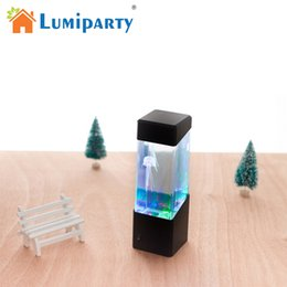 Wholesale jellyfish lighting - LumiParty LED Desktop Light Jellyfish Tropical Fish Aquarium Tank LED Light Relaxing Bedside Mood Night Lamp