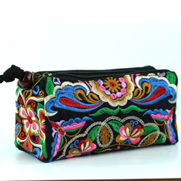 Wholesale Chinese Wholesale Clutch Bags - 2017 New features chinese style embroidery peony clutch women embroidered clutches fashion woman zipper casual mobile phone bags