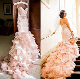 Discount wedding dress crystal sash blush - New Arrival Sweetheart Sweep Train Blush Sash Crystal Lace Up Ruffle Beautiful Sexy Wedding Dresses Custom Made