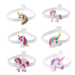 Wholesale american girl charm bracelet - Children Charm Unique Unicorn Bracelets Girls Boys Birthday Party Bag Fillers Kids Baby Silicone Wristband Child Toy Drop Ship
