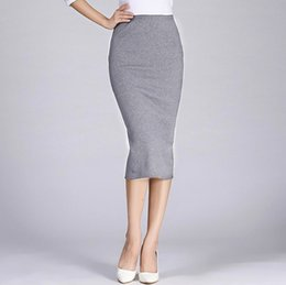 Wholesale Long White Straight Skirt - 2017 Spring Autumn Long Pencil Skirts Women Sexy Slim Package Hip Maxi Skirt Lady Winter Sexy Chic Wool Rib Knit midi Skirt Saia
