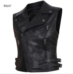 Wholesale sleeveless leather motorcycle vest - 6 color 2018 new Woman Soft Leather Vest Motorcycle PU Leather Lapel Short Section Totem Black yellow Sleeveless Coat Jacket