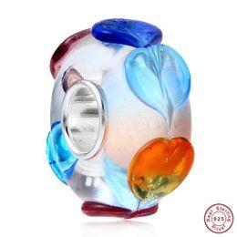 Lampwork contas de vidro coração on-line-Haha Jóias 2 PCS Rainbow Heart Love Lampwork Murano Charme De Vidro 100% 925 Sterling Silver Núcleo Solto Bead Presente para Pandora Pulseira Europeia