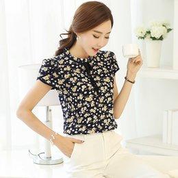 Wholesale womens collared blouse - Blouse Womens Summer Floral Print Chiffon Blouse Ruffled Collar Bow Neck Shirt Petal Short Sleeve Shirt Tops Plus Size Blusas Femininas