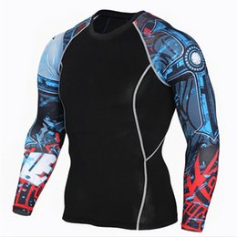 black compression t shirts wholesale Promo Codes - Men Compression Long sleeve Running sports Quick Dry t Shirt Bodybuilding weightlifting Base Layer gym Fitness Tight tee Tops