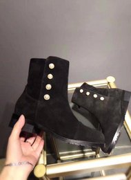 Wholesale Ankle Toe Jewelry - New Arrivals Women's Top Quality Black Suede Leather Pearl Jewelry Short Boots Luxury Brand Designer Dress Ankle Boots Size 34-40