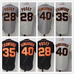 camisola de basebol de flanela Desconto Homens baratos # 28 Buster Posey 35 Brandon Crawford 40 Madison Bumgarner barato costurado vendas de Beisebol Frete Grátis