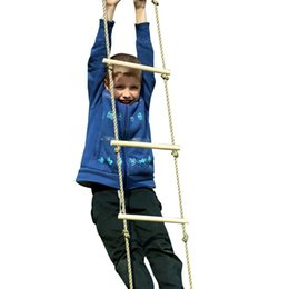 Wholesale Wooden Games Outdoor - Kids Play Outdoor Indoor Floor Wood Rope Ladder Toys Playground Games For Children Climbing Swing Wooden 5 Rungs PE Rope Ladder