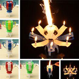 2019 kaktus kerzen großhandel 8 Licht Kerze Musical Romantische Geburtstagskerze Rotierende Fußball Cup Soccer Musical Kerze Happy Birthday Party Kuchen
