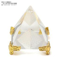 Decoração egípcia on-line-Cura de Energia da moda Pequeno Feng Shui Egito Egípcio Cristal Claro Pirâmide Ornamento Home Decor Sala Decoração