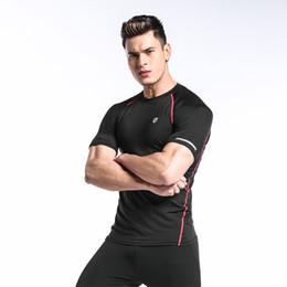 estiramiento seco rápido t shirts Rebajas Nueva Llegada Tight Stretch Hombres Camiseta Casual de manga corta Slim Fit Coolmax Quick Dry T-shirts Envío gratis