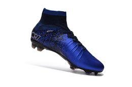 stivaletti per bambini Sconti Blue CR7 Tacchetti da calcio unisex Original Mercurial Superfly V SX Neymar Scarpe da calcio per bambini High Ankle Cristiano Ronaldo Womens scarpe da calcio