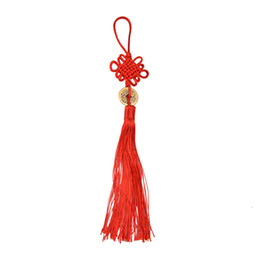 Wholesale Lucky Coin Charms - Red Chinese Knot Feng Shui Wealth Success Copper Ancien Coins Lucky Charm Home Car Decoration