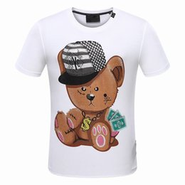 Wholesale Bead Bear - Brand Luxury Famous Rolling Men's T-shirts Man cool Tees Summer short-sleeved Bear dollar Designer diamond-bordered 3D printed Slim handsome