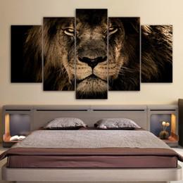 pinturas al óleo de calidad de las mujeres Rebajas 5 Panel Pintura Lienzo Lions Wall Art Imagen Decoración Del Hogar Sala de Estar Imprimir Pintura Arte de la Lona